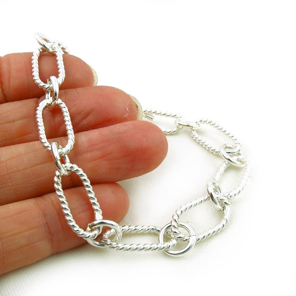 Silver Rope Bracelet: Solid Sterling 925 Silver Twisted Rope Chain Link Bracelet